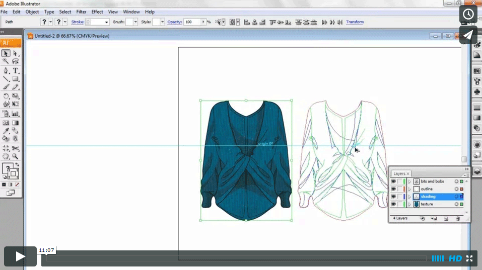 CAD & FASHION ILLUSTRATION – Applying colour, texture & shading