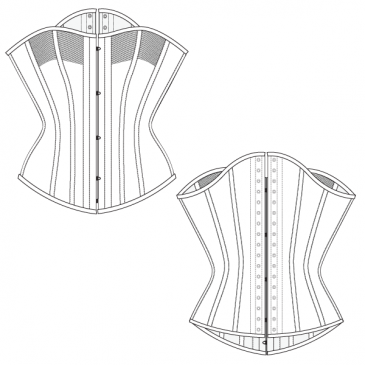 FREE CORSET PATTERN – Piped Front Corset