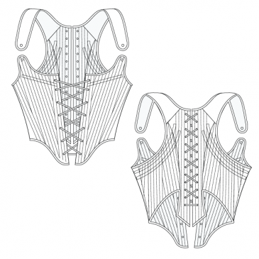 FREE CORSET PATTERN – Fully boned long-back corset