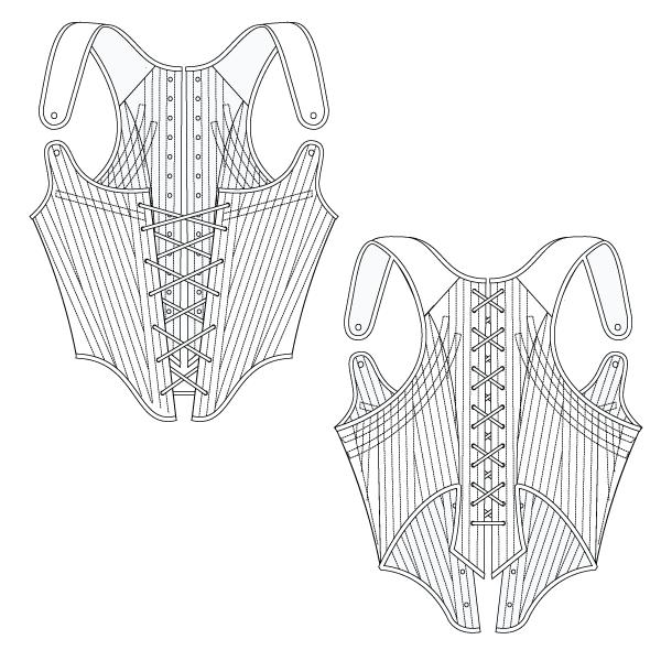 FREE CORSET PATTERN – Fully boned long-back corset
